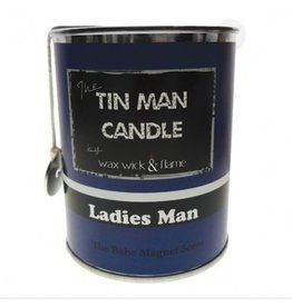 Wax Wick & Flame Tin Man Candle - Ladies Man/ The Babe Magnet Scent