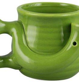 Ceramic Wake N Bake Coffee Mug Pipe 16oz/ Green