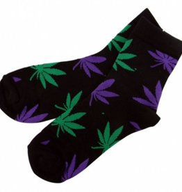 Sock Purple/Green Leaf