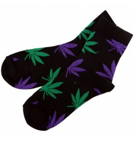 Sock Purple/Green Leaf