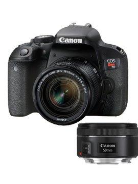 Canon EOS Rebel T7I DSLR Appareil photo avec 18-55 mm et  50mm f1.8 Objectif kit