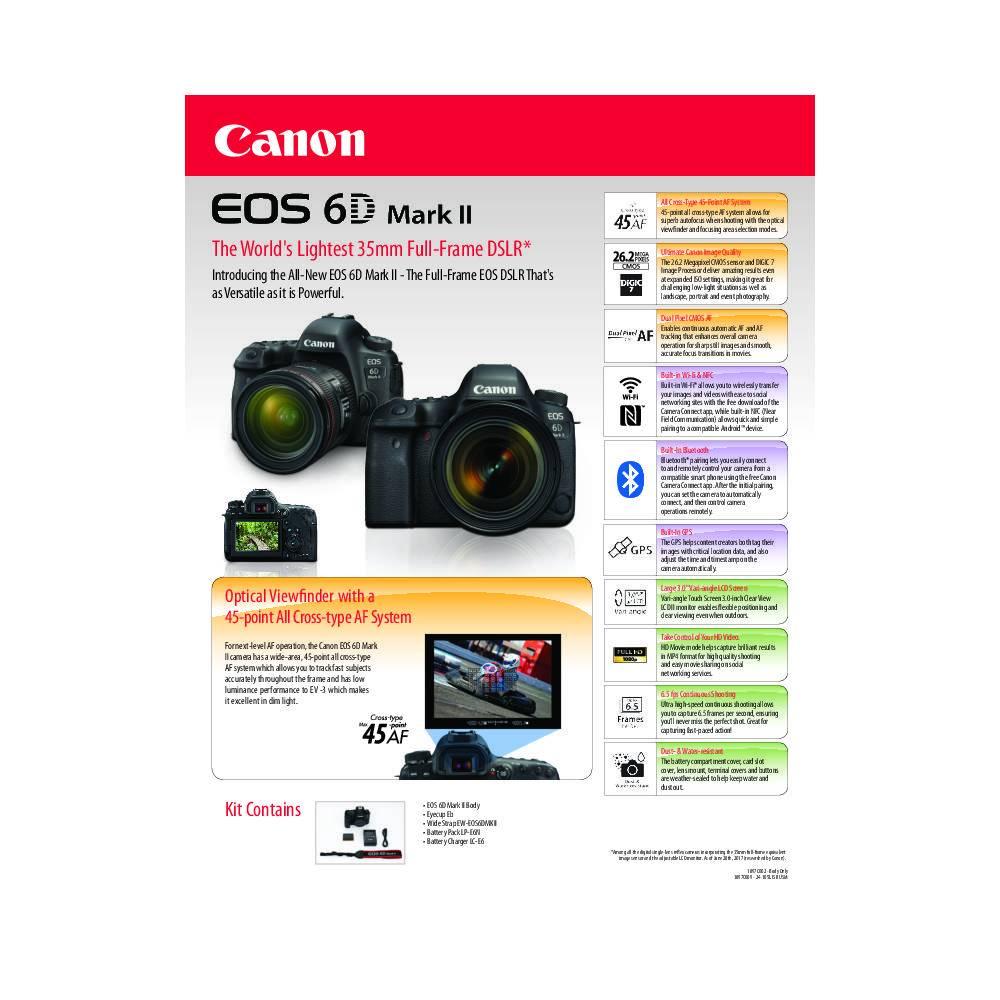 Canon EOS 6D Mark II Full frame DSLR Camera - Body Only