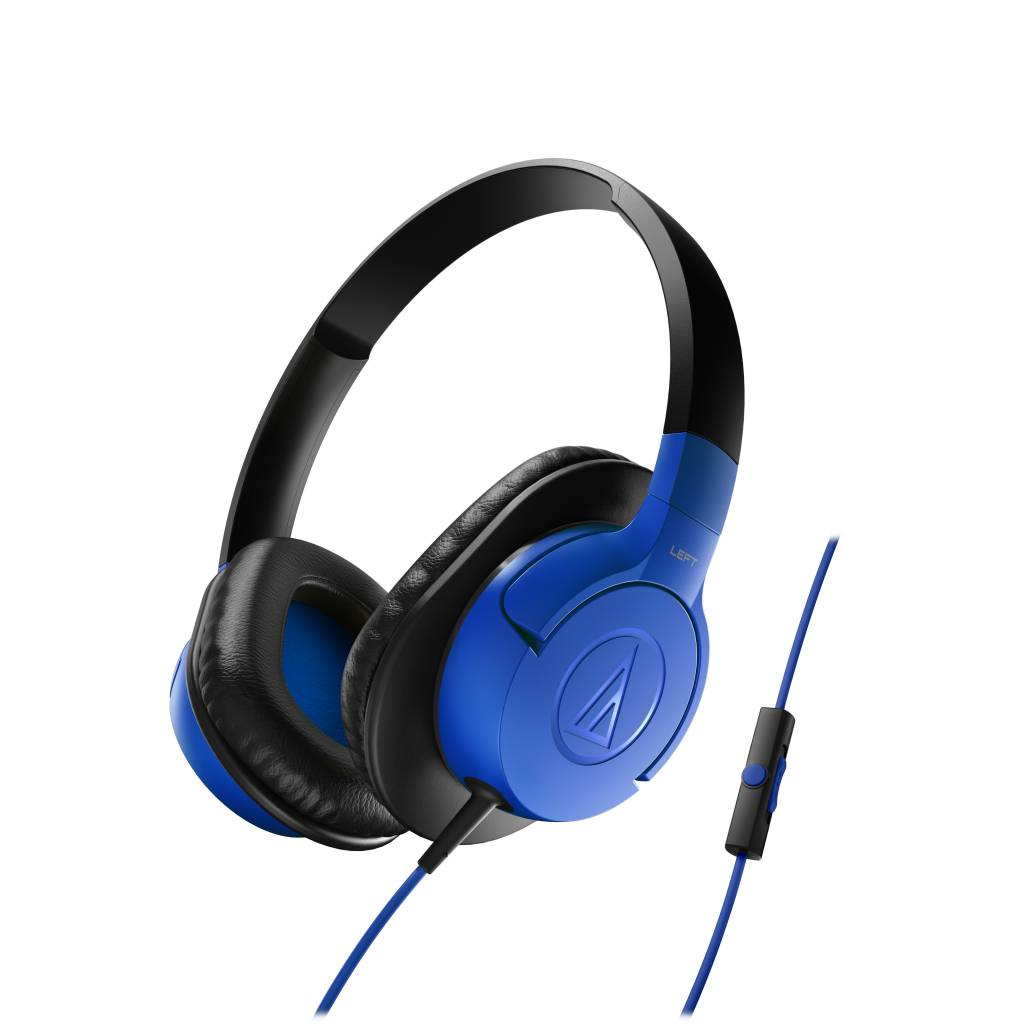 Audio-Technica ATH-AX1iSBL SonicFuel Over-Ear Headphones for Smartphones, Blue