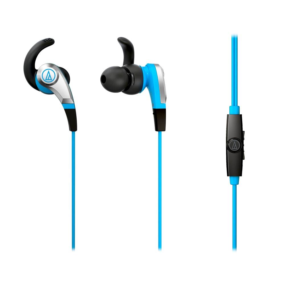 Audio-Technica ATHCKX5ISBL SONIC FUEL SMARTPHONE EARBUDS WITH IN-LINE MICROPHONE BLUE