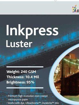 Inkpress PCL111750 Commercial Luster Inkjet Paper 11 X 17 inches 50 Sheets