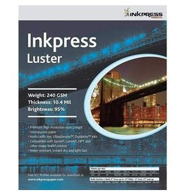 Inkpress PCL46100 Luster, Single Sided Inkjet Paper, 240gsm, 10.4 mil., 4 x 6 inches, 100 sheets