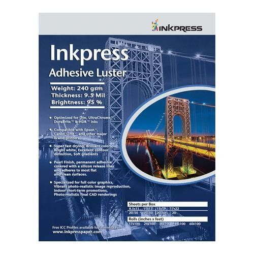 Inkpress  AL851120  Inkjet Papier Adhesif et Lustre 8.5 x 11 pouce