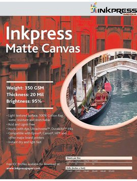 Inkpress ACW851110 MEDIA Matte Canvas 8.5 x 11 inch paper