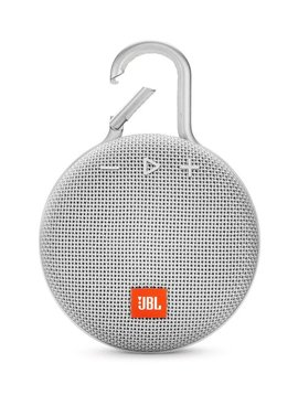 JBL Clip 3 Waterproof Portable Bluetooth Speaker, White