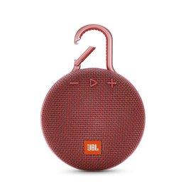 JBL Clip 3 Waterproof Portable Bluetooth Speaker, Red