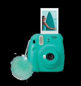 FujiFilm Instax Mini 9 appareil photo instante  avec pompon- Surf Bleu