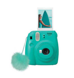 FujiFilm Instax Mini 9 Instant Camera with pompom - Surf Blue