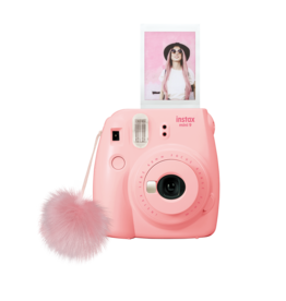 FujiFilm Instax Mini 9 Instant Camera with pompom - seashell