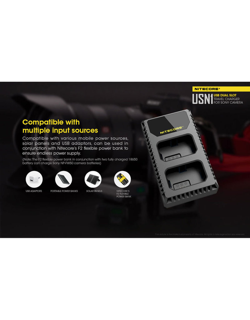 Nitecore USN1 Dual Slot Charger for Sony NP-FW50