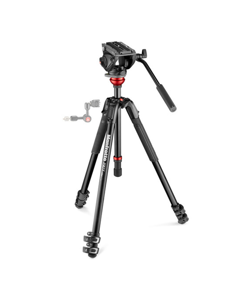 Manfrotto 500 Fluid Video Head Flat Base with 190X Video Aluminum Tripod