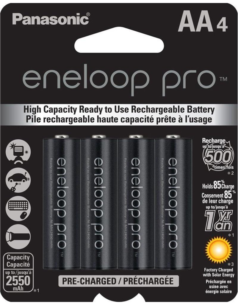 Panasonic  BK3HCCA4BA Eneloop Pro AA High Capacity New Ni-MH Pre-Charged Rechargeable Batteries, 4-Pack