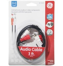 AV72609 Audio Cable w/Dual RCA Plugs, 3ft, Black