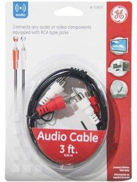 GE AV72609 Audio Cable w/Dual RCA Plugs, 3ft, Black