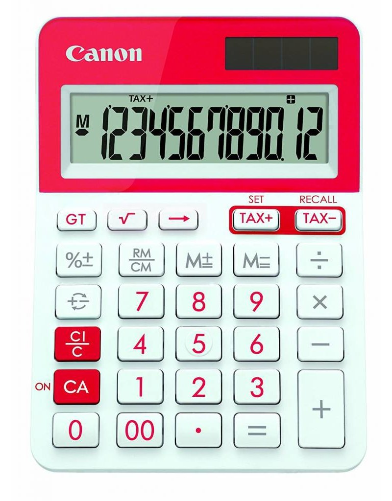 Canon Calculator LS-123T Desktop 12 digit  with tax functions (Red)