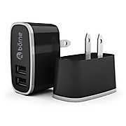 Borne 2.1A dual USB AC wall adapter - black