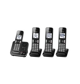 Panasonic KXTGD394B 4 handset cordless phone with answering  system