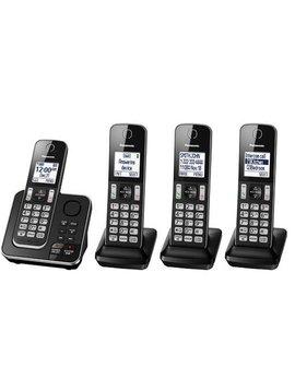 Panasonic KXTGD394B 4 handset cordless phone with answering  system