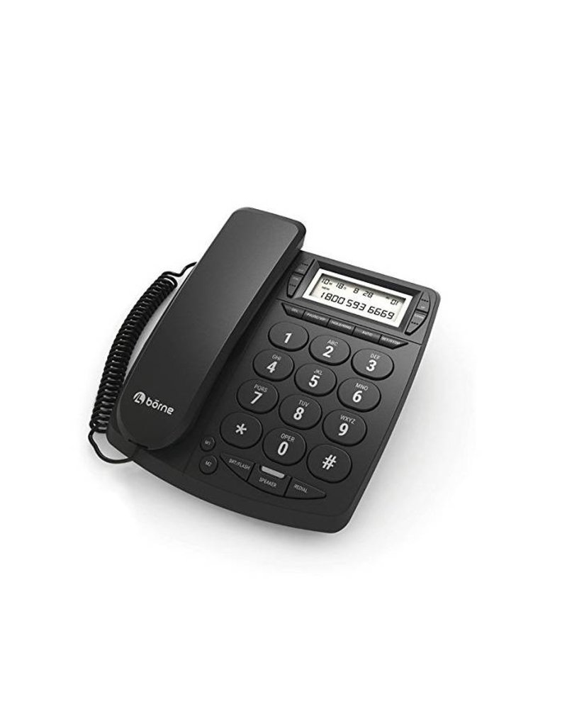 Borne Big button corded phone, Caller ID,  speakerphone , 3x one touch memory, 10x memory, hearing aid compatible