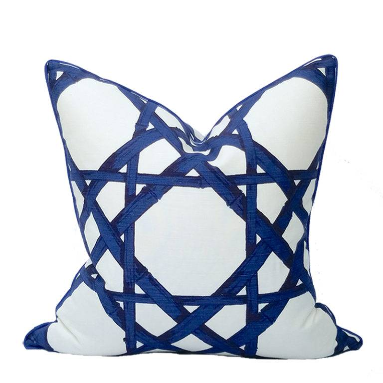 Coastal Home Pillows Royal Cane Pillow-Marine 22""