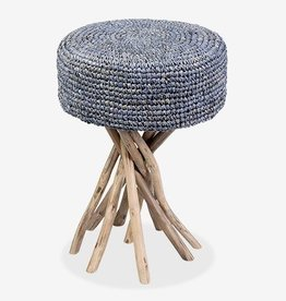 Surfside Stool-Blue Raffia Cushion