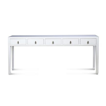 High Gloss White Lacquer 5 Drawer Console Table