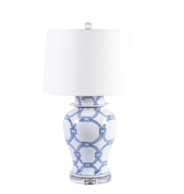 Blue & White Lover Locks Table Lamp-Large