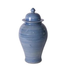 Lake Blue Porcelain Temple Jar