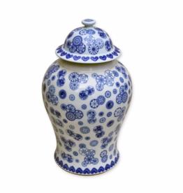 Blue & White Ball Flower Temple Jar-Small