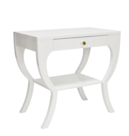 Curvy Side Table in White Lacquer