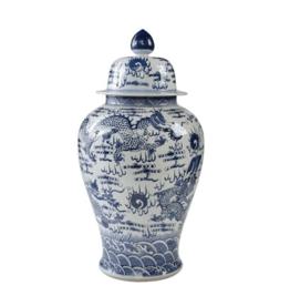 Blue & White Temple Jar-Sea Dragon Motif