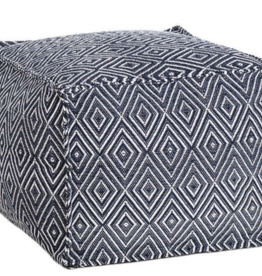 Diamond Navy/White Indoor/Outdoor Pouf