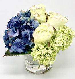 "Hydrangea, Rosebuds & Viburnum in 4""Cylinder (DKBLGR)"