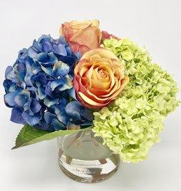 "Hydrangea, Rosebuds & Viburnum in 4""Cylinder (DKBL-PCRD)"