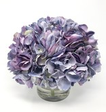 "Large Hydrangea x3 in 5"" Cylinder-Faux Water (Purple Green )"