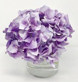 """Hydrangea in 4"""" Cylinder-Faux Water (Purple Lavender )"""