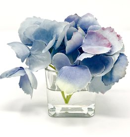 Hydrangea Votive-Faux Water (Light Blue)