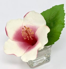 Hibiscus Votive-Faux Water (Cream Red)