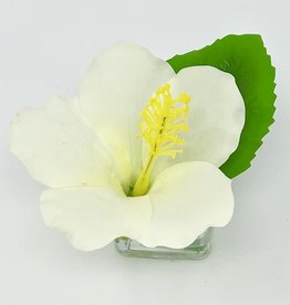 Hibiscus Votive-Faux Water (White)