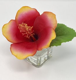 Hibiscus Votive-Faux Water (Red Gold)