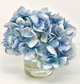 "Hydrangea in 4"" Cylinder-Faux Water (Light Blue)"