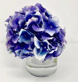 """Hydrangea in 4"""" Cylinder-Faux Water (Lavender Purple)"""