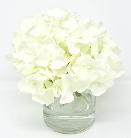 "Hydrangea in 4"" Cylinder-Faux Water (White)"