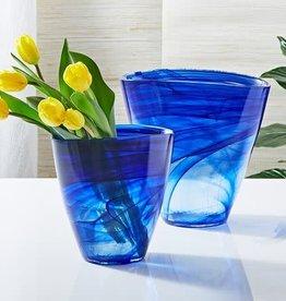 Striation Blue Flare Vase-Small