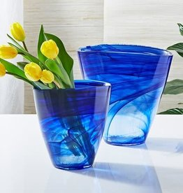 Striation Blue Flare Vase-Large