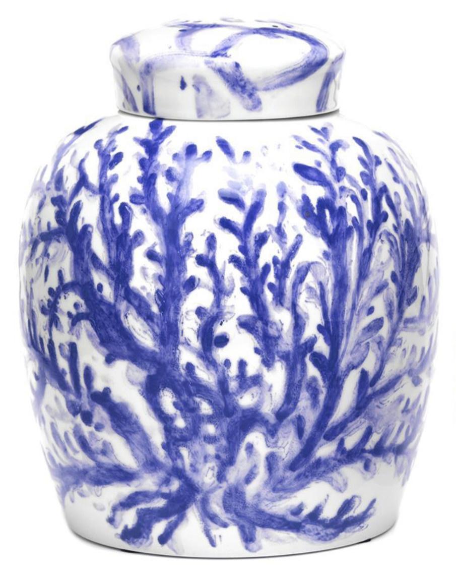 Large Blue Coral Ginger Jar